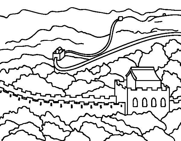 600x470 Easy Great Wall Of China Coloring Pages For Kids To Print