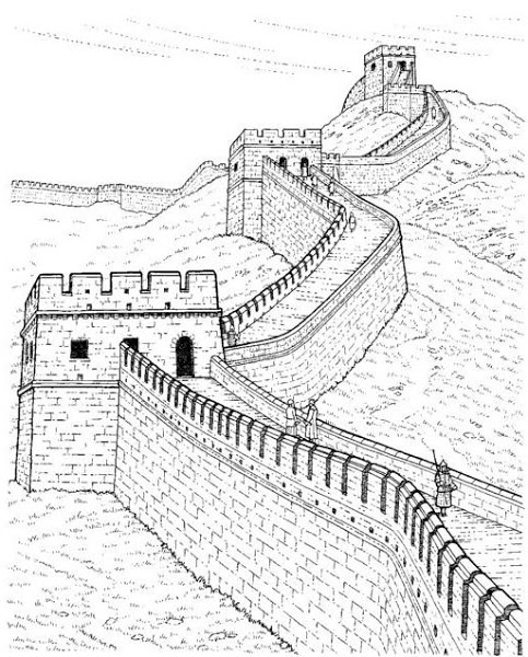 483x600 Great Wall Of China Drawing Side View Coloringdownload Great Wall
