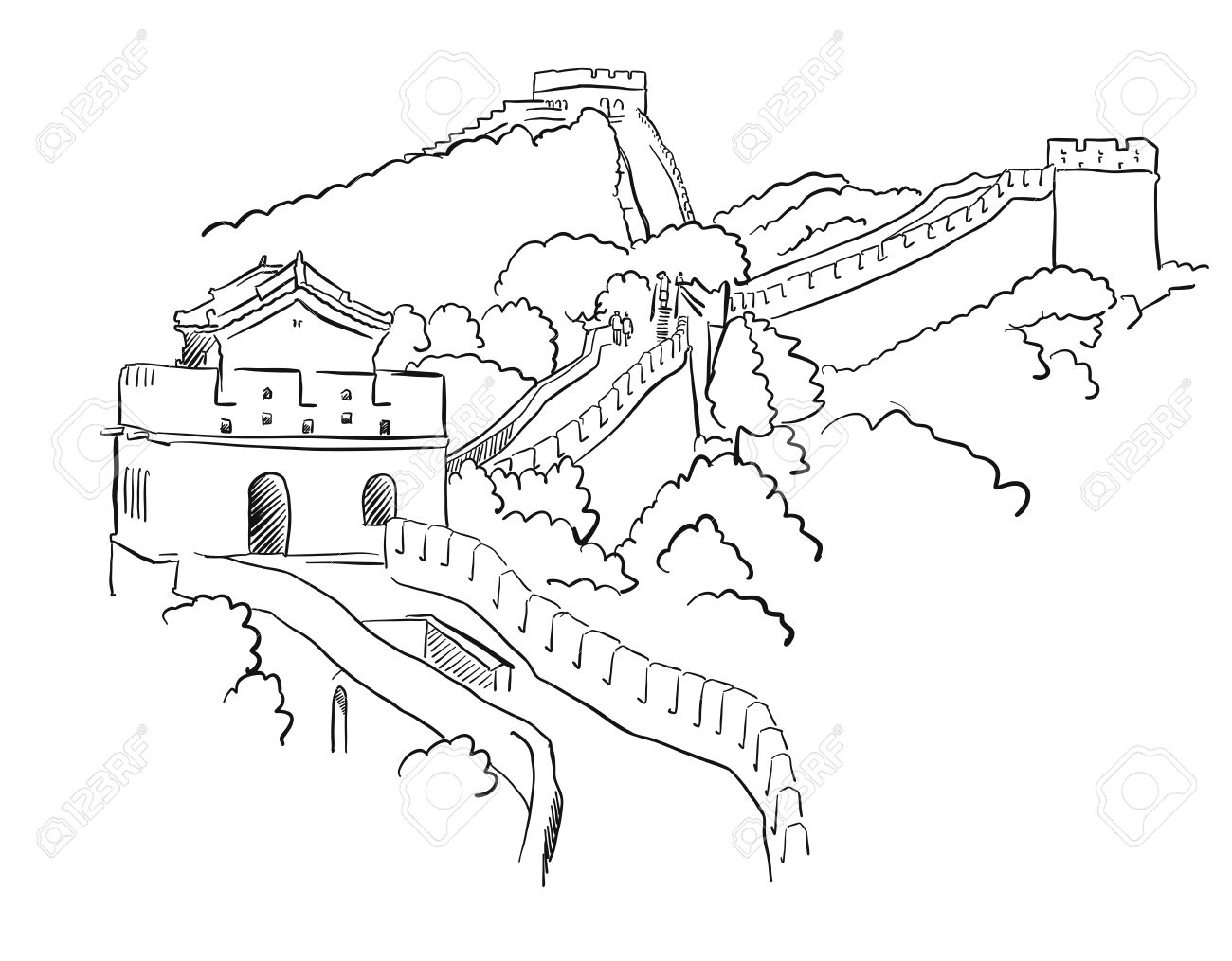 1300x1015 China Great Wall Vector Sketch, Famous Destination Landmark