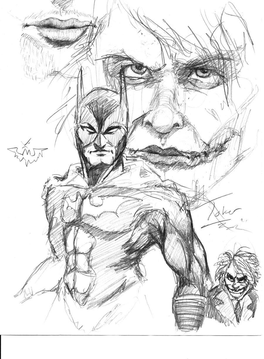 900x1222 Batman And Joker Sketch Bycue5