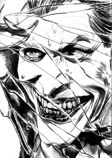 370x522 Cracked.' Enlargement Of Alex Ross Joker Drawing In Pencil. Comic