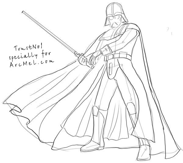 600x533 How To Draw Darth Vader Step By Step