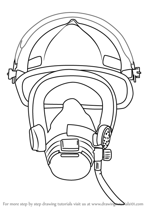 567x800 Learn How To Draw Firefighter Mask (Tools) Step By Step Drawing