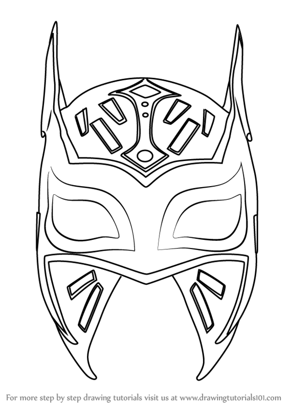 567x800 Learn How To Draw Sin Cara Mask (Mascots) Step By Step Drawing