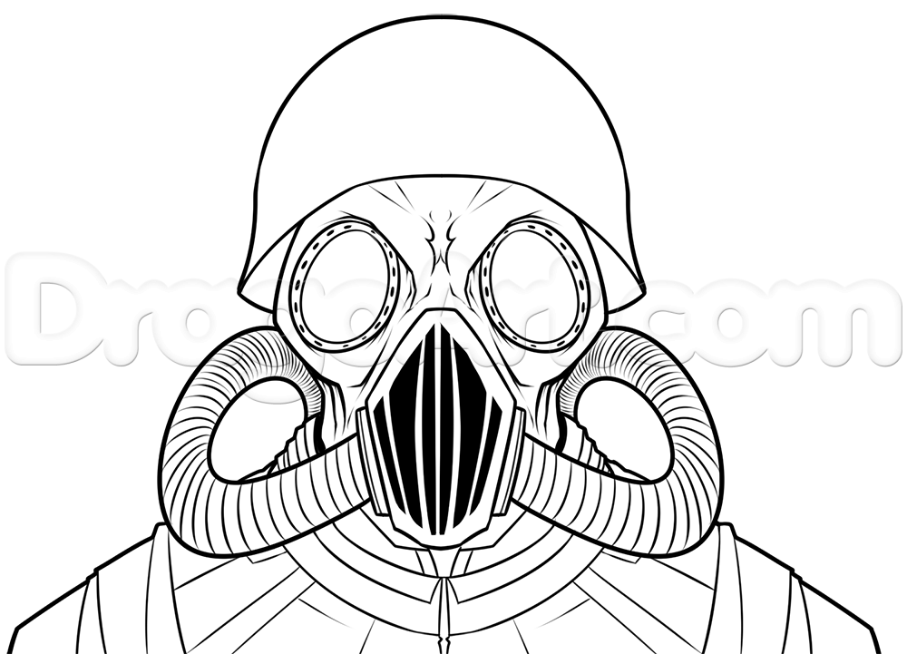 1000x721 Nwo Gas Masks Drawing Lesson, Step By Step, Other, Weapons, Free