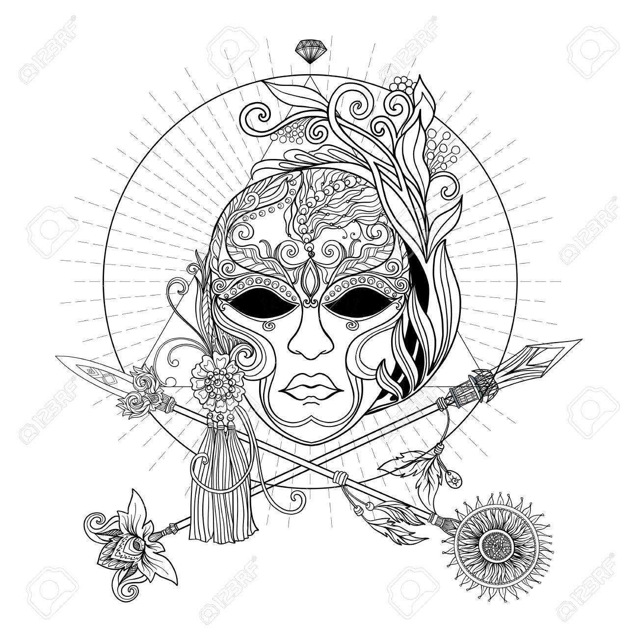 1300x1300 Venetian Carnival Mask And Crossed Swords. In Decorative Style