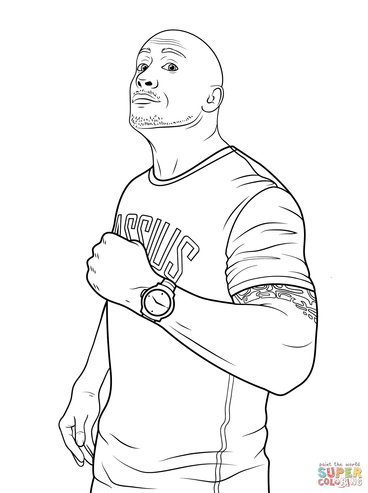 1526x2046 Wwe Dwayne The Rock Johnson Coloring Page Free Printable