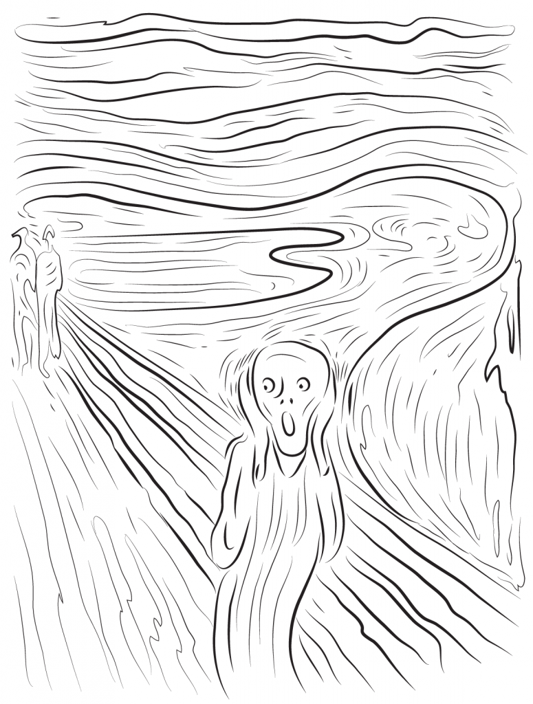 775x1024 The Scream By Edvard Munch Painting Coloring Page