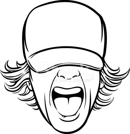 424x439 Whiteboard Drawing Screaming Man Face In Cap Stock Vector