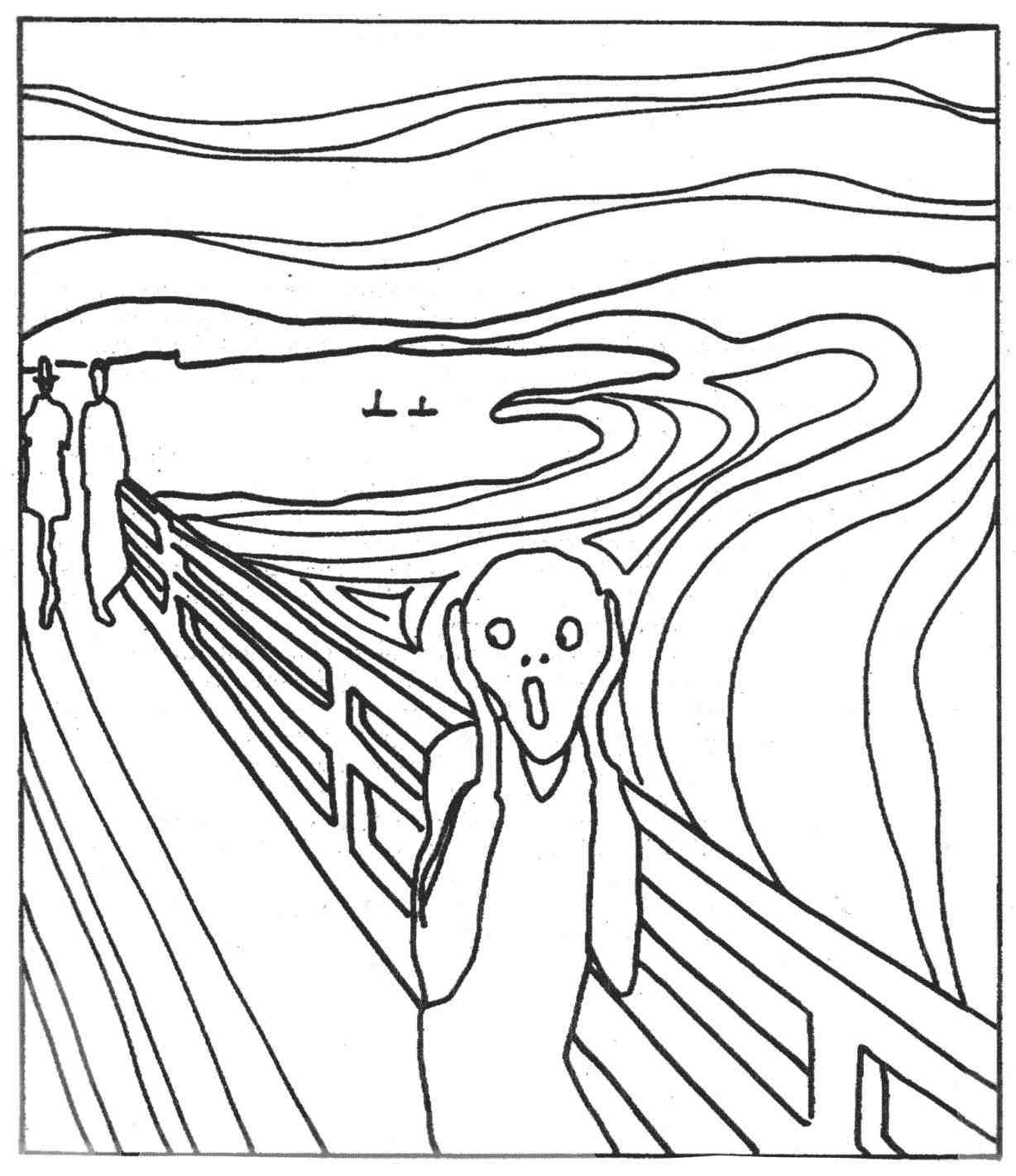 1228x1422 The Scream Painting Black And White