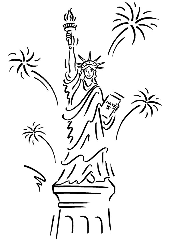 595x842 statue of liberty coloring pages with fireworks
