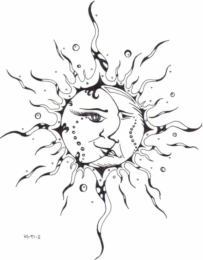 798x1024 Moon And Sun Drawing Sun And Moon Drawing