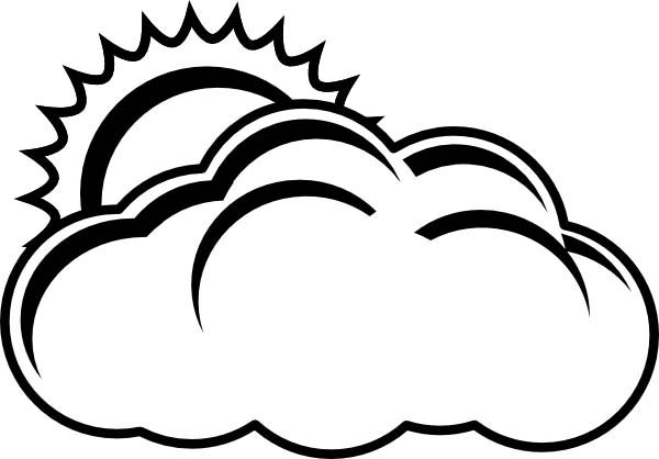 600x418 The Sun Hiding Behind Clouds Coloring Page