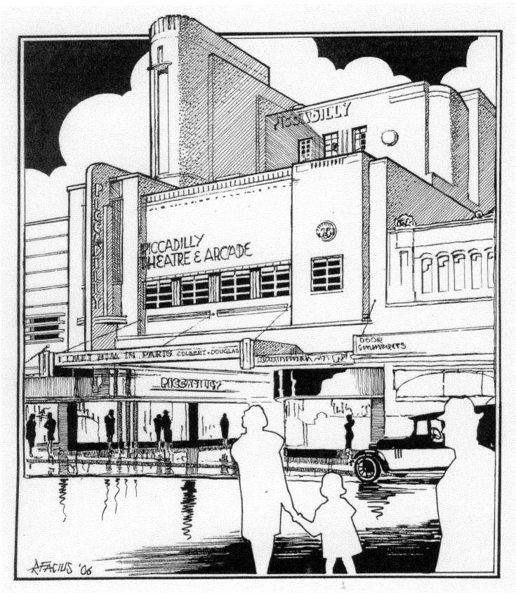 735x845 Piccadilly Theatre Perspective Art Deco Piccadilly