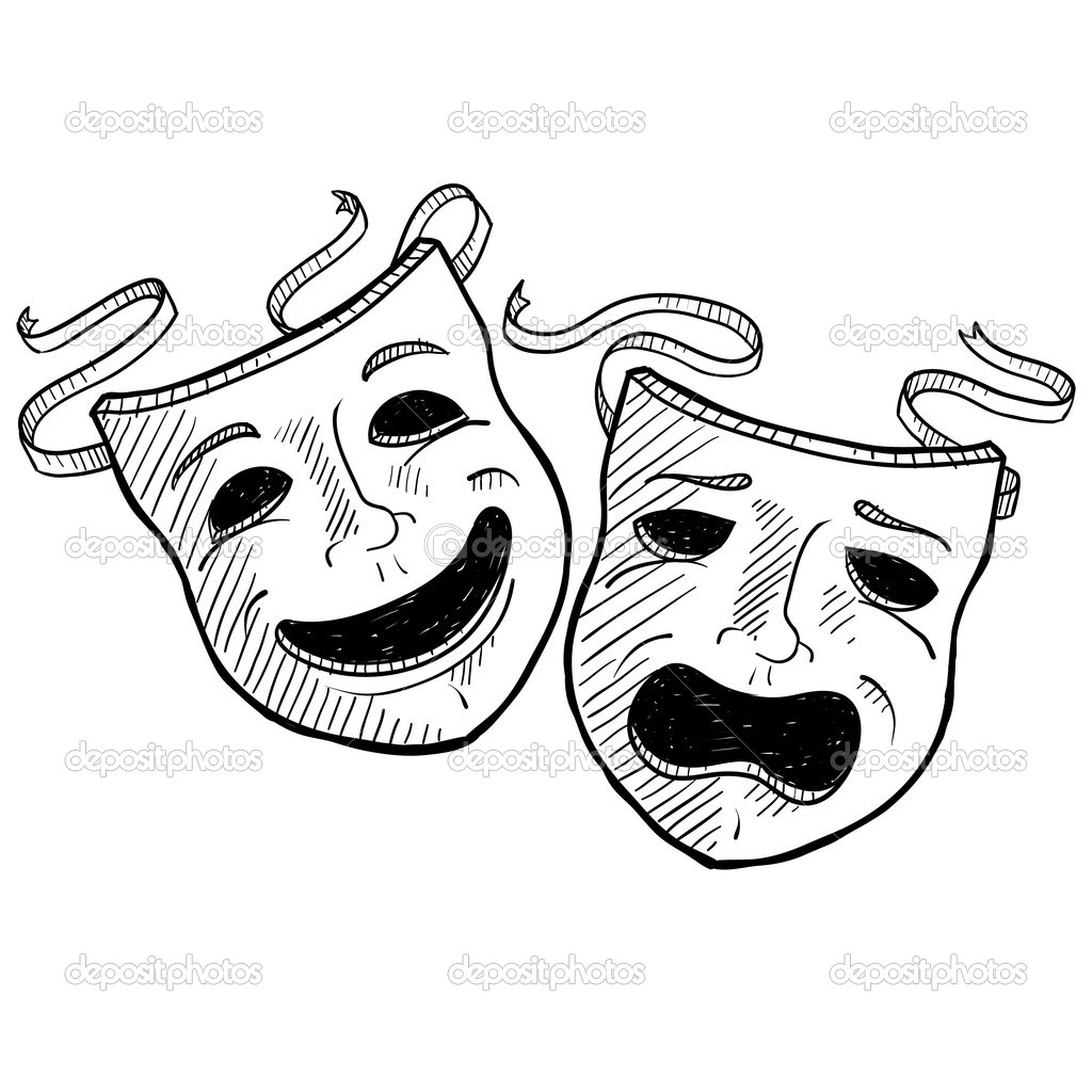 theatre masks drawing at getdrawings com