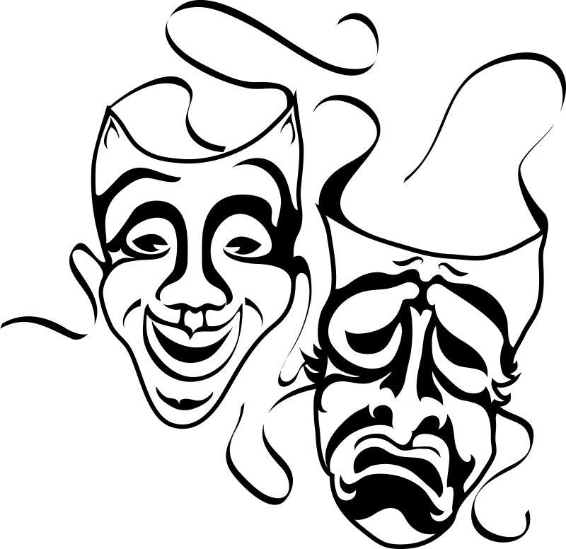 Perfect 800x776 Drama Masks Black And White Clipart