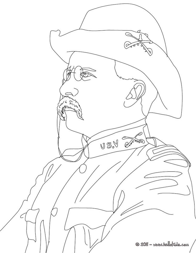 820x1060 President Theodore Roosevelt Coloring Page History Coloring