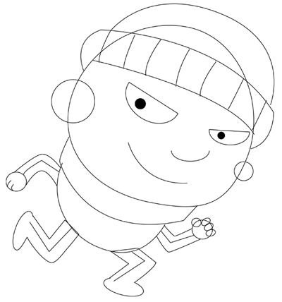 400x428 How To Draw Cartoon Thief Prowling In Easy Step By Step Drawing