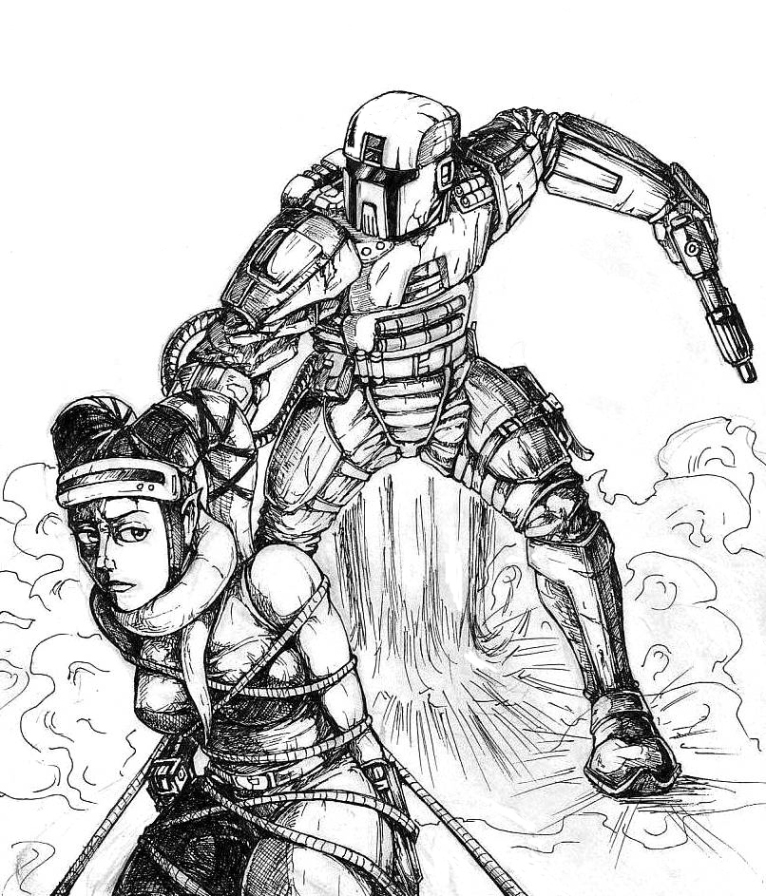 766x896 Mandalorian And Twilek Scetch By Flick The Thief