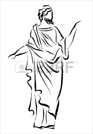 313x450 Drawing Of The Statue Of The Thinker Royalty Free Cliparts