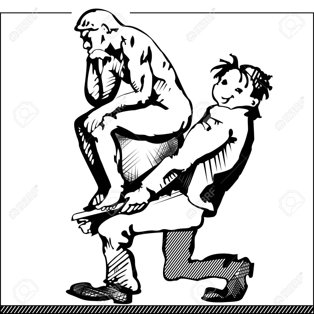 1300x1300 Cartoon Image Of A Man Carrying A Sculpture Of Rodin's Thinker