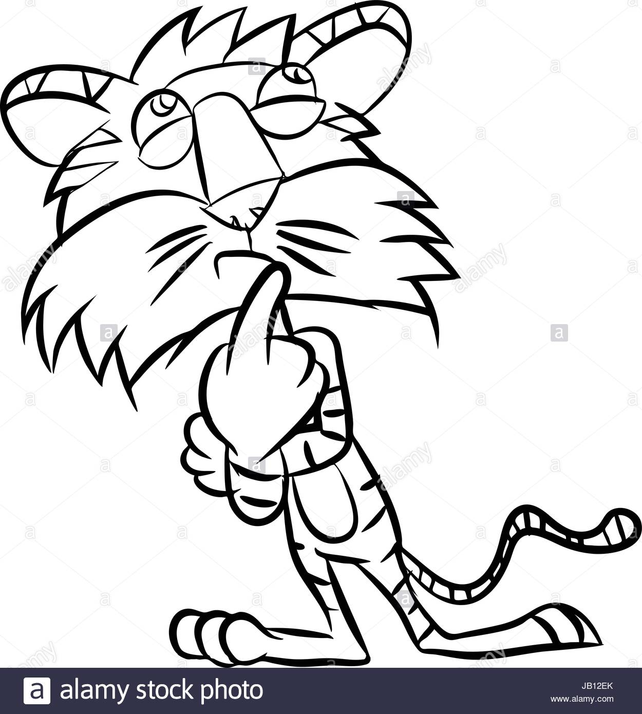 1250x1390 Line Drawing Cartoon A Tiger Take Thinking In Black And White