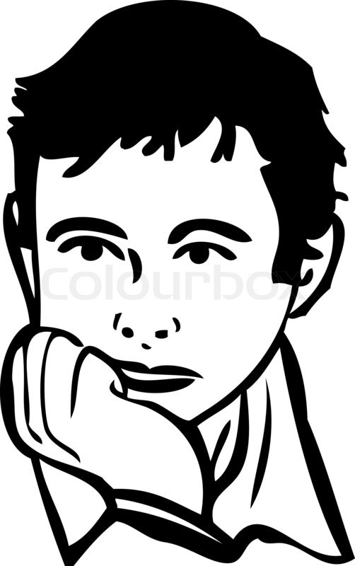 502x800 Sketch Of The Boy Is Thinking Stock Photo Colourbox