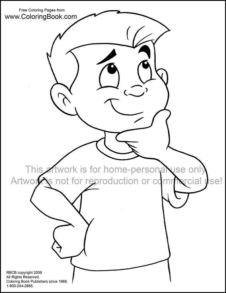 791x1024 Kid Thinking Free Coloring Page Wayne Bell