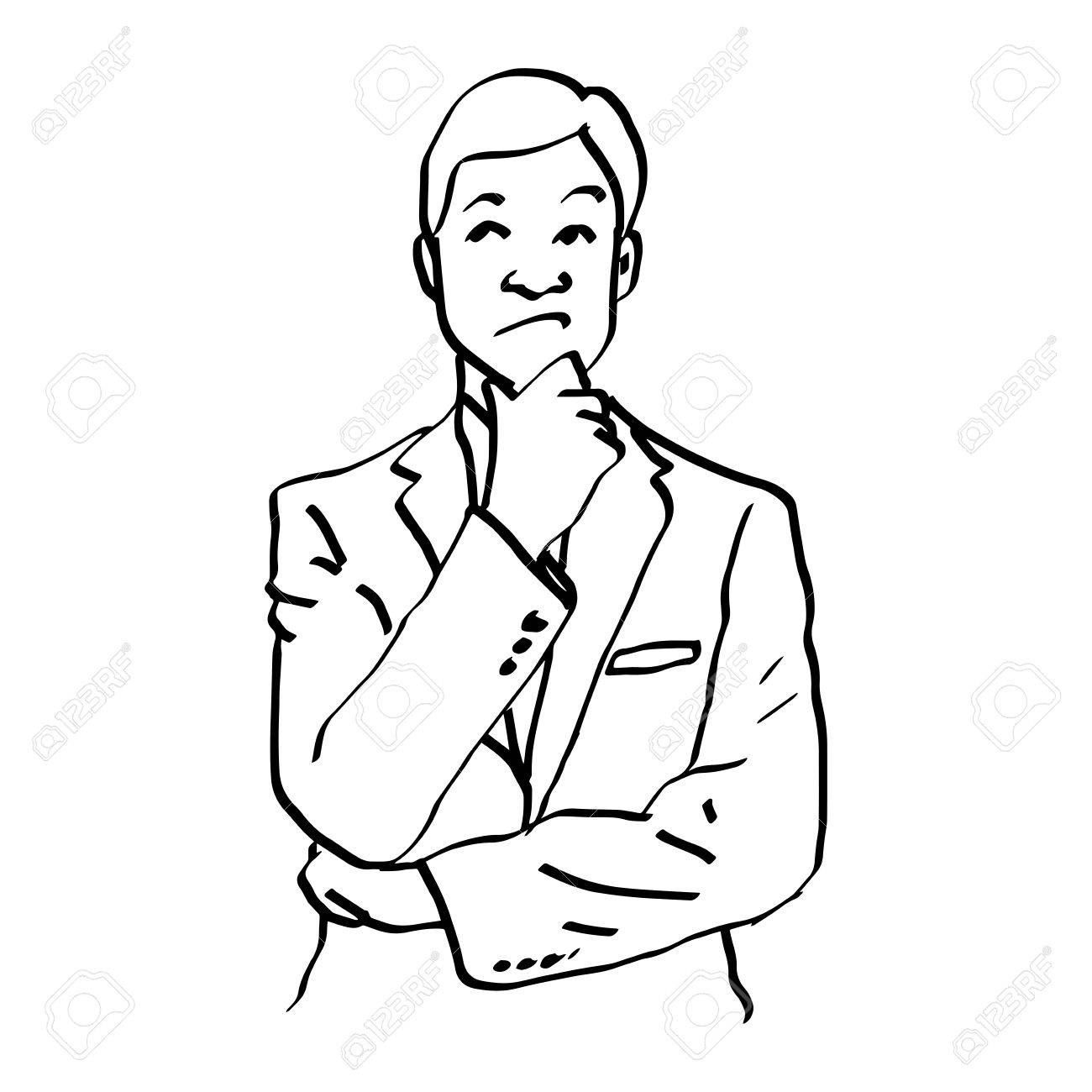 1300x1300 Illustration Vector Doodles Hand Drawn Man Thinking And Resting