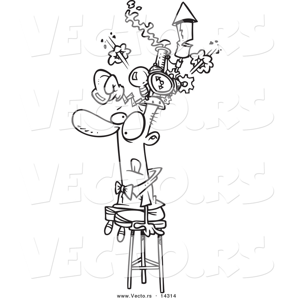 1024x1044 Vector Of A Cartoon Man Sitting On A Stool And Wearing A Thinking