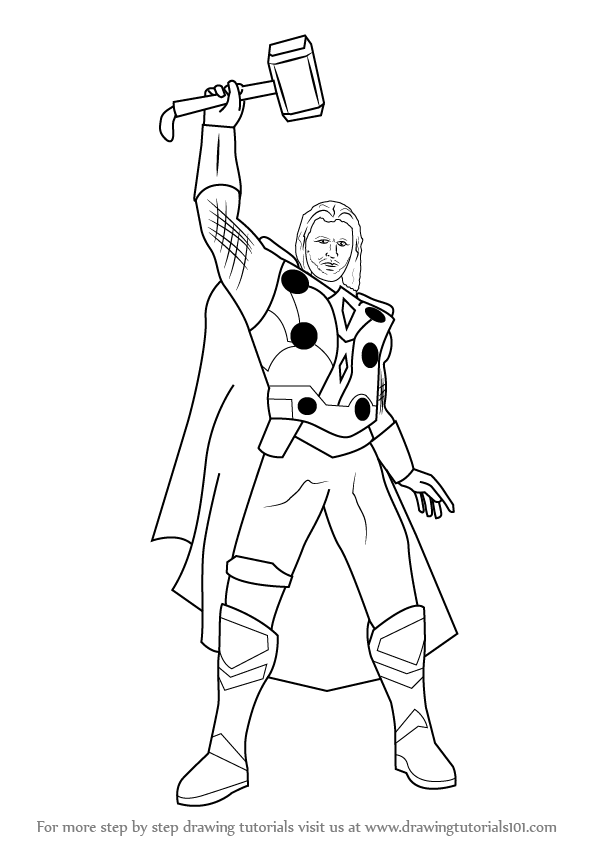 598x844 Learn How To Draw Thor (Thor) Step By Step Drawing Tutorials