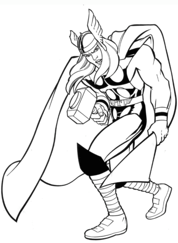 352x480 Marvel Thor Coloring Page Free Printable Coloring Pages
