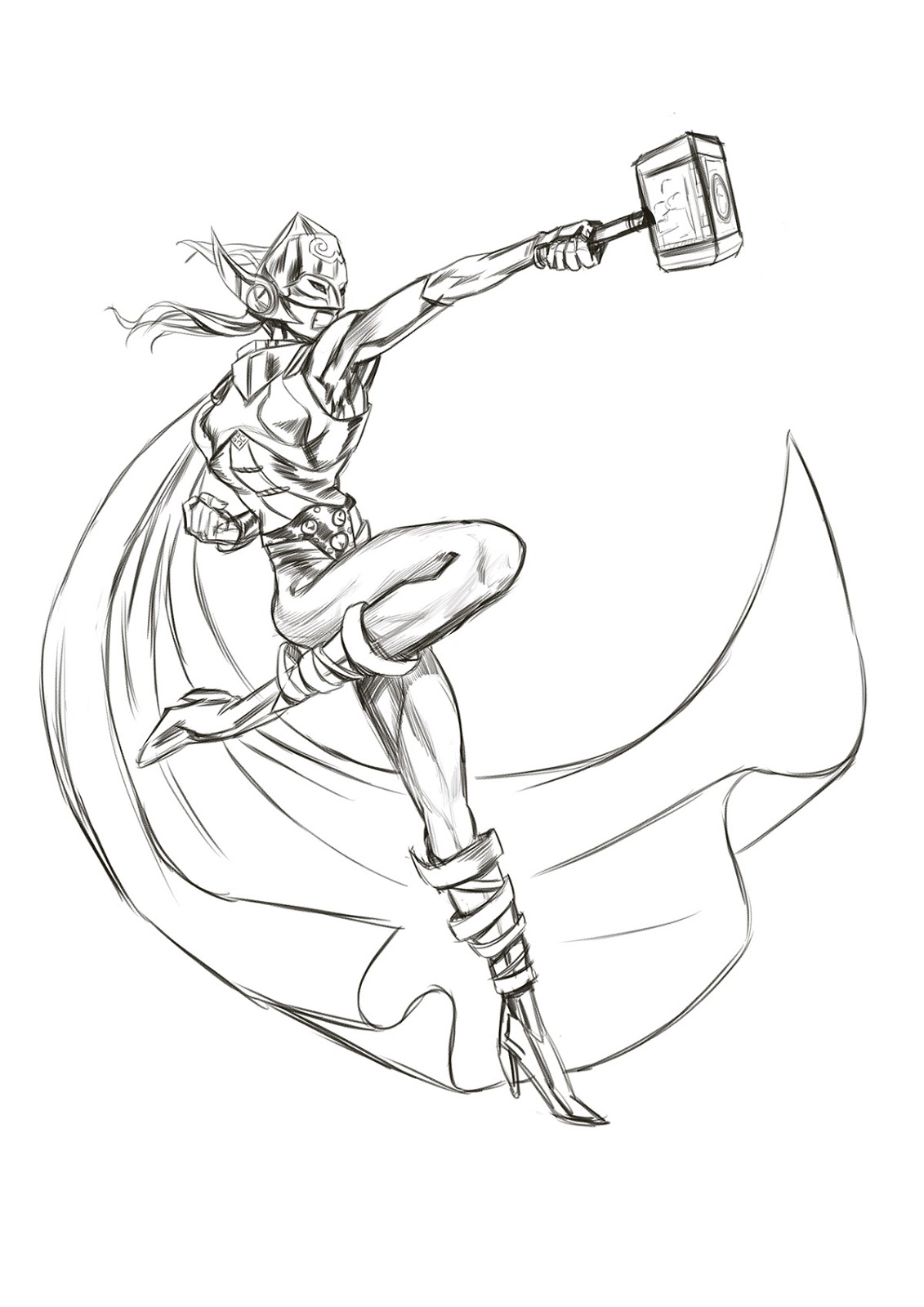 1131x1600 Let's Animate Marvel's New She Thor Sketch 2