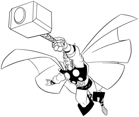 480x406 Thor, The Asgardian God Of Thunder Coloring Page Free Printable