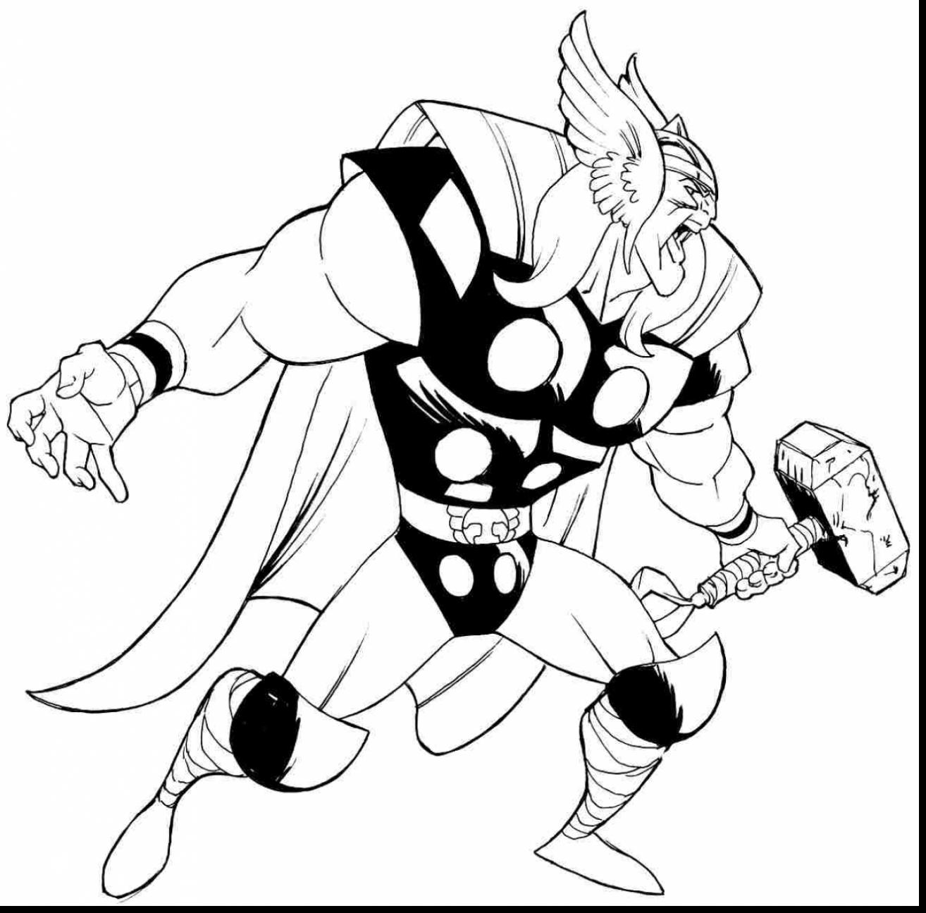 1314x1295 Extraordinary Avenger Thor Cartoon Drawing With Thor Coloring
