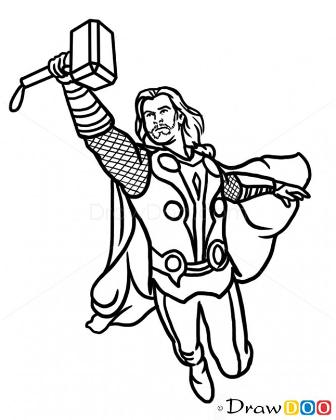 665x832 Thor Cartoon Drawing