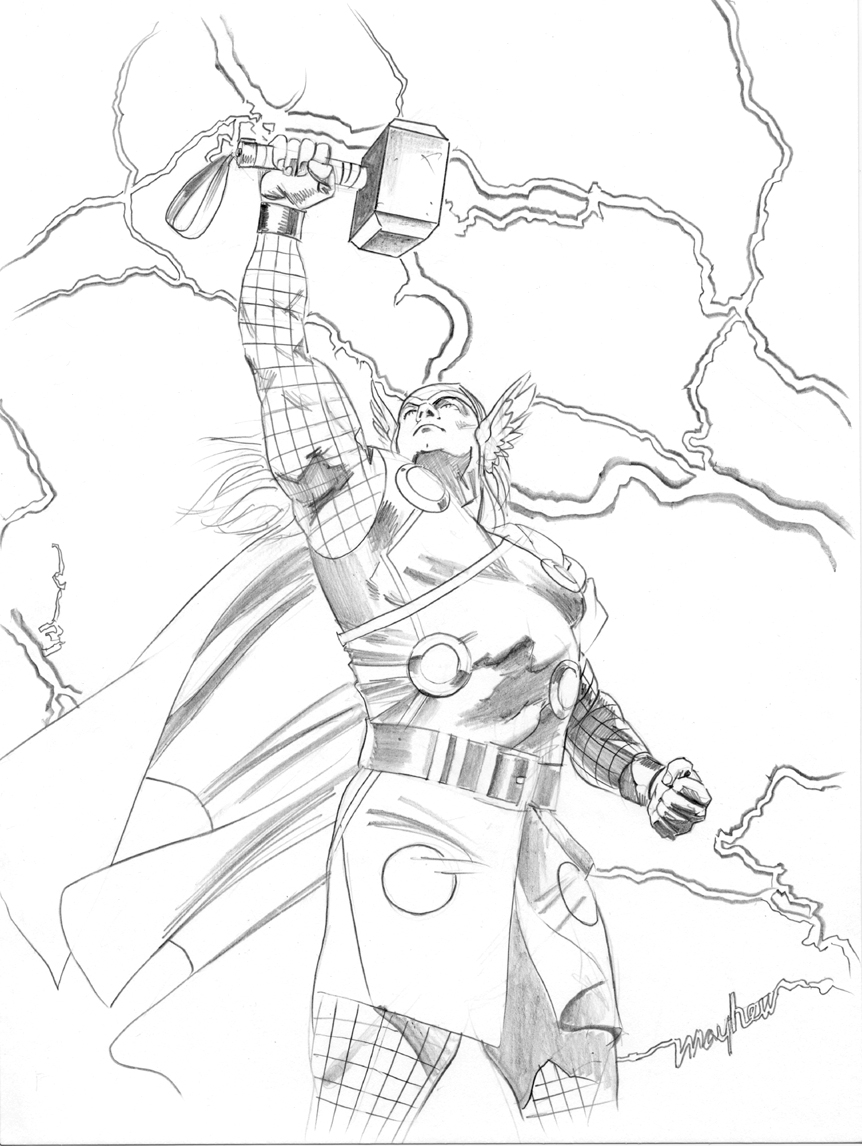 862x1146 Thor Drawing, In Mike Mayhew's Sketches Comic Art Gallery Room