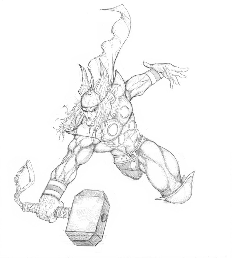 800x889 Thor Sketch For Art Jam By Mikevanorden