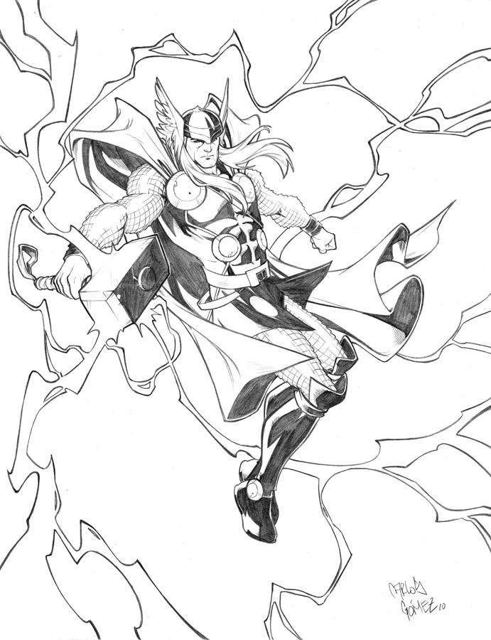 691x900 Thor Sketch Commission By Carlosgomezartist