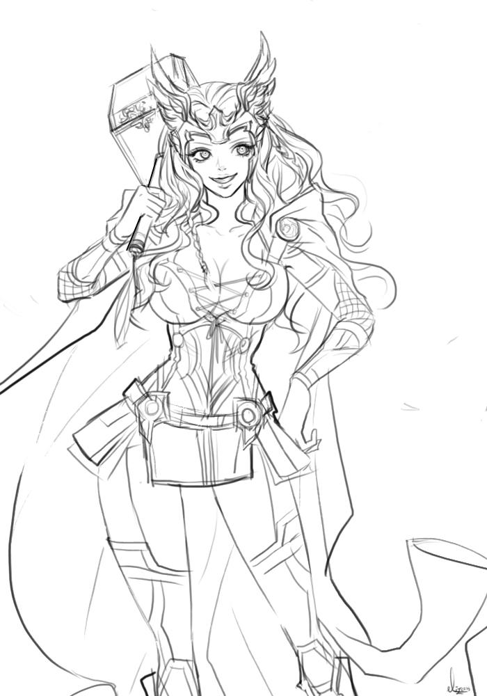 700x1000 Lady Thor By Eliz7