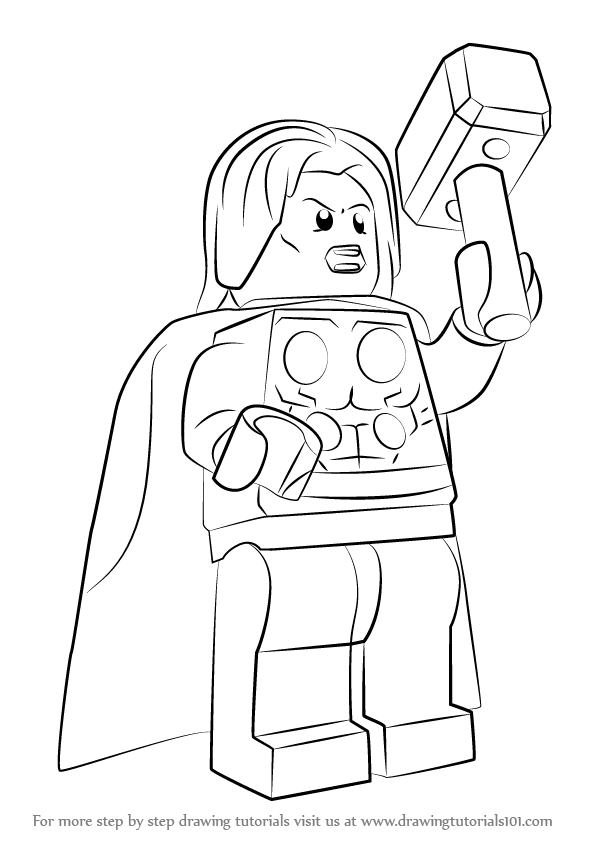 596x843 Learn How To Draw Lego Thor (Lego) Step By Step Drawing Tutorials