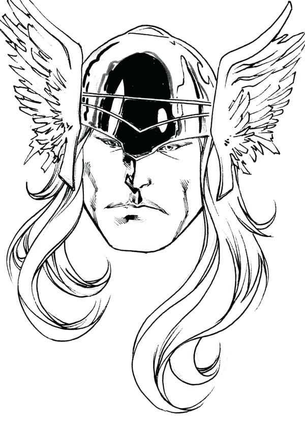600x842 Pictures To Color Coloring Sketch Is Thunder God Hammer For Pages