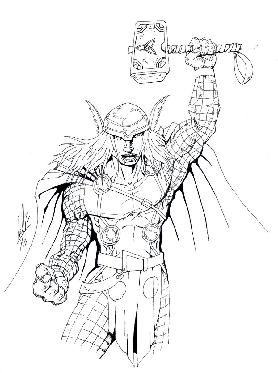 900x1206 Smartness Ideas Thor Outline Coloring Pages Drawing Hammer Movie