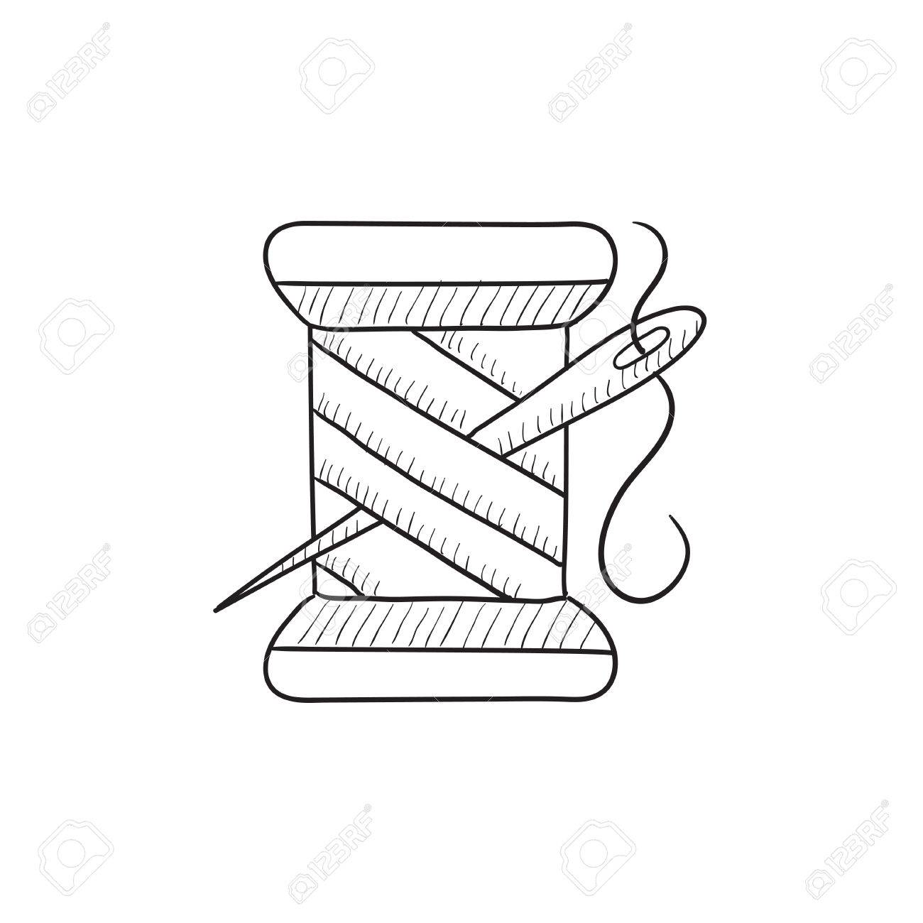 1300x1300 Spool Of Thread And Needle Vector Sketch Icon Isolated