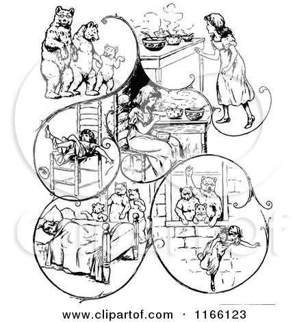 450x470 Clipart Of Retro Vintage Black And White Goldilocks And The Three