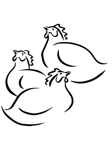 360x480 Three French Hens Coloring Page Free Printable Coloring Pages