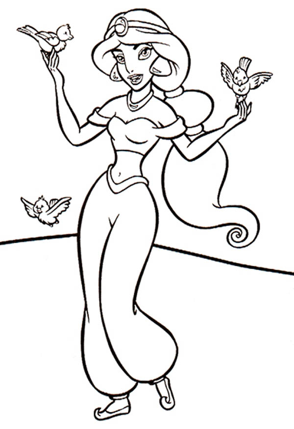 600x875 Three Little Birds And Princess Jasmine Coloring Page