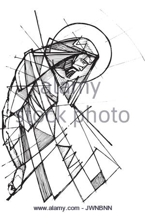300x438 Hand Drawn Illustration Of Jesus Christ Hanging On The Cross Stock