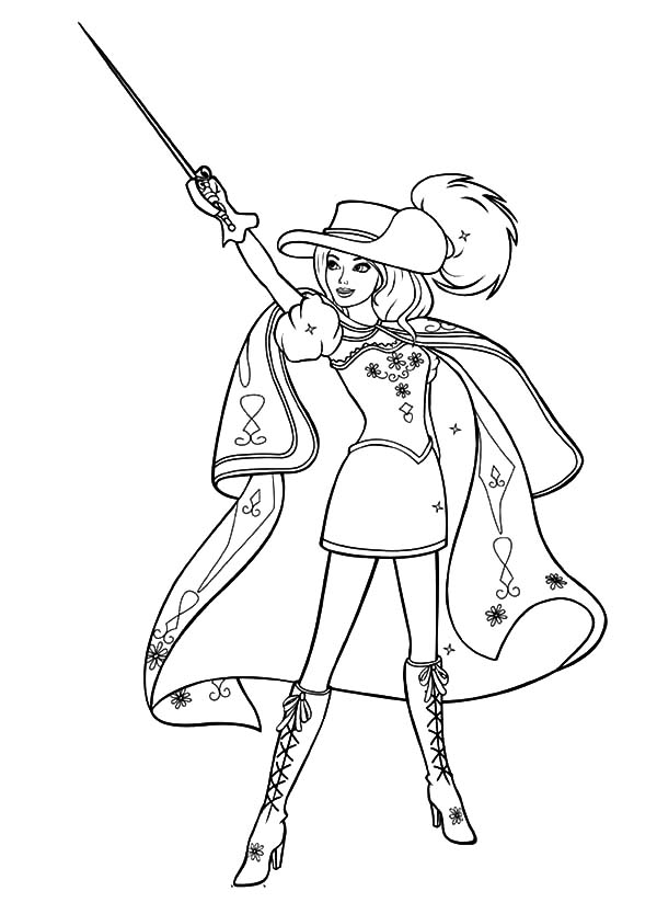 600x834 How To Draw Barbie Three Musketeers Coloring Pages Batch Coloring