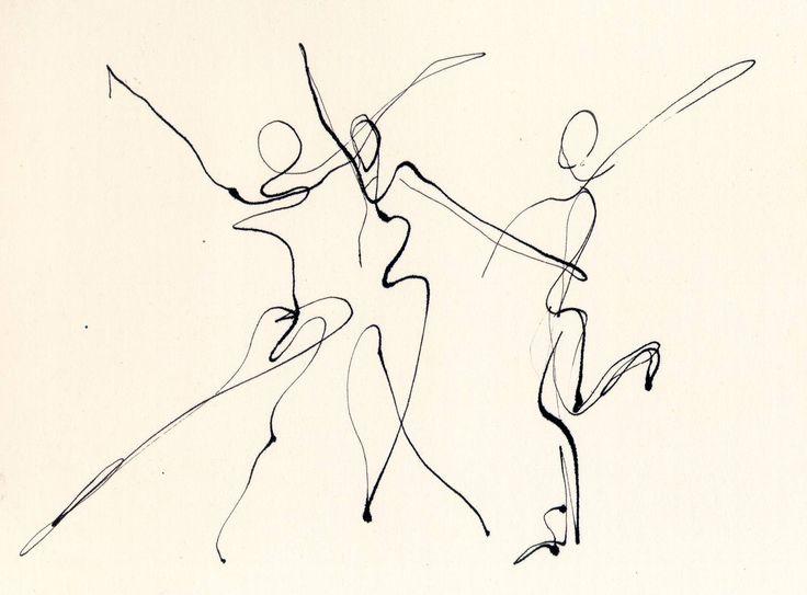 736x543 3 Dancers Line Drawing Chris Carter Artist Dip Pen Ink Web Chris